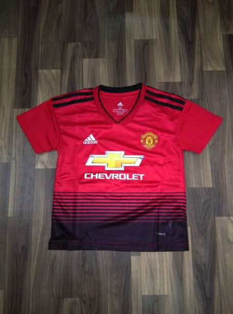 Kids-Manchester-United-Football-Jersey-And-Shorts-Home-Kit-18-19-Season-Front