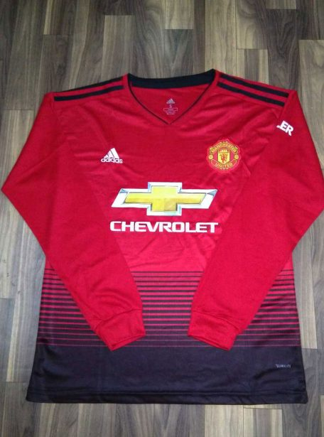 Manchester-United-Long-Sleeves-Football-Jersey-And-Shorts-Home-18-19-Season-Front