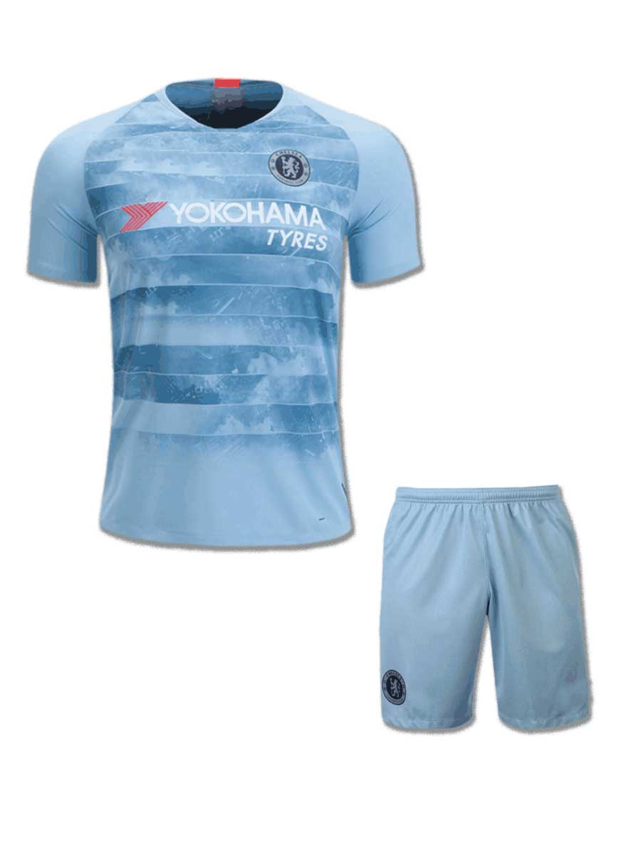 finest selection 480fc e8d9f Chelsea Football Jersey And Shorts 3rd Kit 18 19 Season