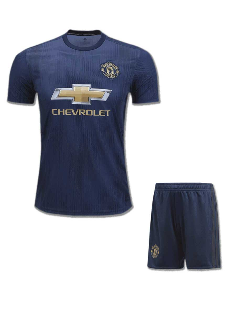 new concept 7d344 ea824 Manchester United Football Jersey And Shorts 3rd Kit 18 19 Season