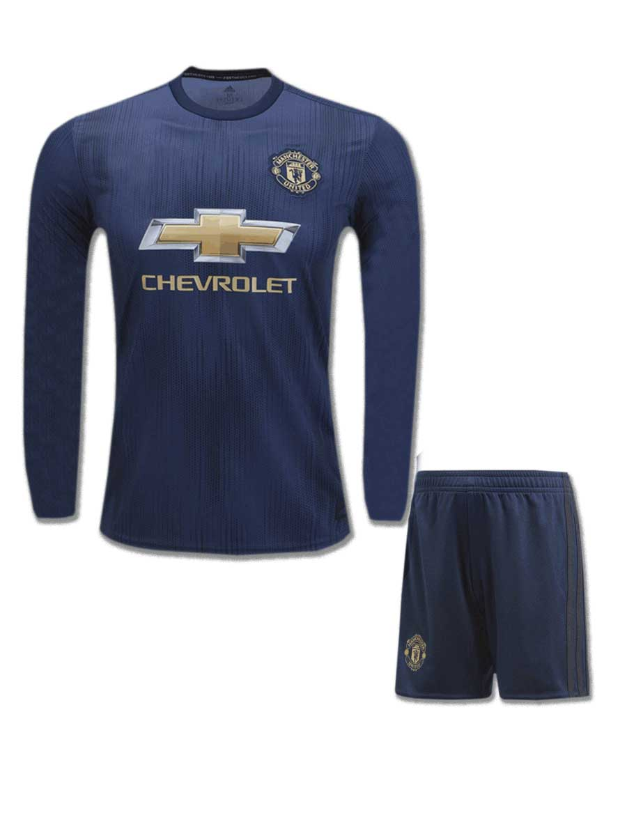 3902dcaf8 Manchester United Long Sleeves Football Jersey And Shorts 3rd Kit 18 ...