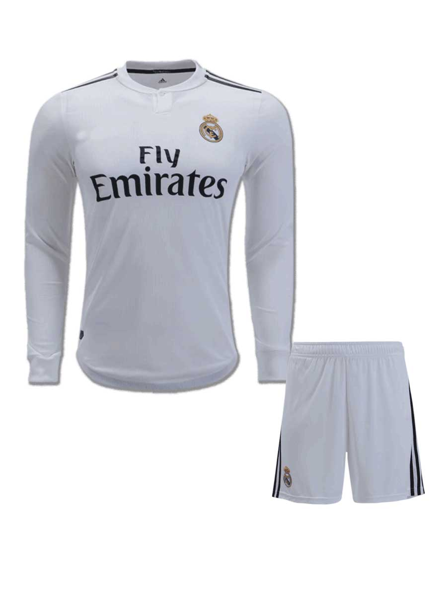 12d3be08c62 Real Madrid Long Sleeves Football Jersey And Shorts Home 18 19 ...