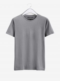 Grey Melange Half Sleeve Round Neck Cotton T Shirt