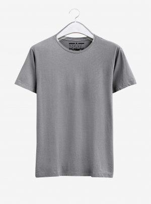 Grey Melange Half Sleeve Round Neck Cotton T Shirt