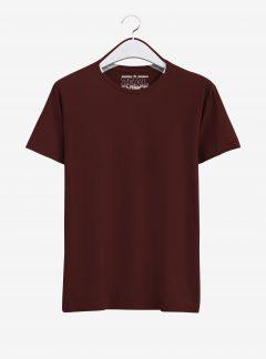 Maroon Half Sleeve Round Neck Cotton T Shirt