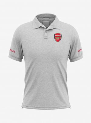 Arsenal-Crest-Grey-Melange-Polo-T-Shirt-Front