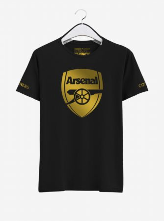 Arsenal Golden Crest Round Neck T Shirt-Front