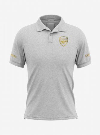 Arsenal-Golden-Crest-Grey-Melange-Polo-T-Shirt-Front