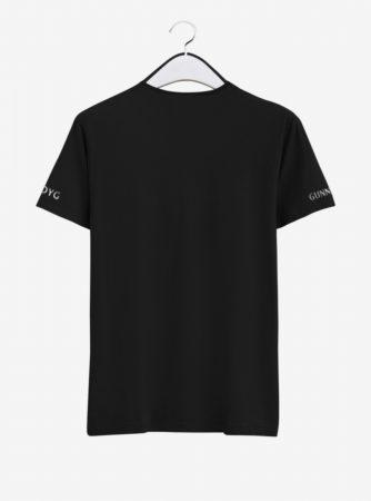 Arsenal Silver Crest Black Round Neck T Shirt Back