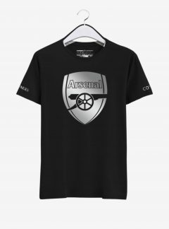 Arsenal Silver Crest Black Round Neck T Shirt Front