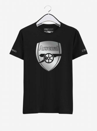Arsenal Silver Crest Black Round Neck T Shirt Front