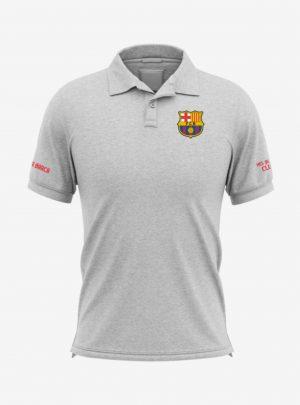 Barcelona-Crest-Grey-Melange-Polo-T-Shirt-Front