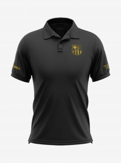 Barcelona-Golden-Crest-Black-Polo-T-Shirt-Front