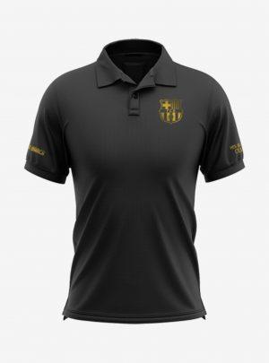 Barcelona-Golden-Crest-Black-Polo-T-Shirt-Front