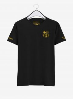 Barcelona-Golden-Crest-Black-Round-neck--T-Shirt-Front-2-