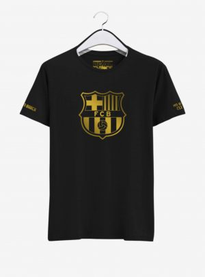 Barcelona Golden Crest Black Round neck T Shirt Front