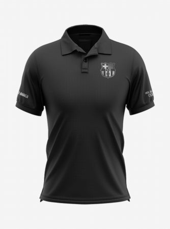 Barcelona-Silver-Crest-Black-Polo-T-Shirt-Front