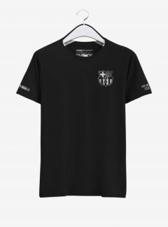Barcelona-Silver-Crest-Black-Round-neck--T-Shirt-Front-2-