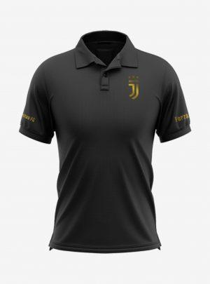 Juventus-Golden-Crest-Black-Polo-T-Shirt-Front