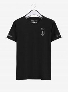 Juventus-Silver-Crest-Black-Round-Neck-T-Shirt-Front