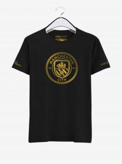Manchester City Golden Crest Round Neck T Shirt Front