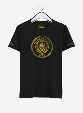 Manchester City Golden Crest Round Neck T Shirt Front