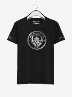 Manchester City Silver Crest Round Neck T Shirt Front