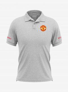 Manchester-United-Crest-Grey-Melange-Polo-T-Shirt-Front