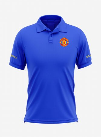 Manchester-United-Crest-Royal-Blue-Polo-T-Shirt-Front