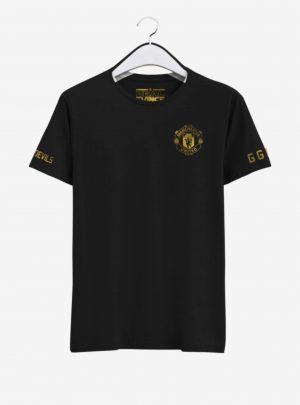 Manchester-United-Golden-Crest-Black-Round-Neck-T-Shirt-Front-2