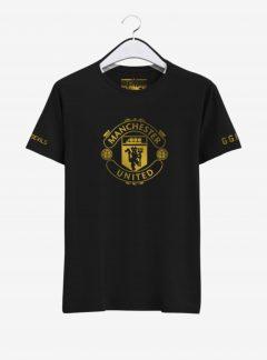 Manchester United Golden Crest Round Neck T Shirt Front