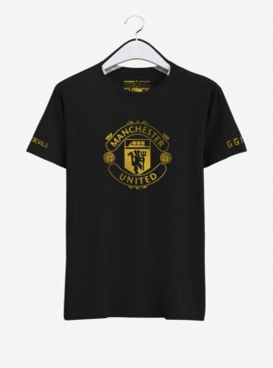 Manchester United Golden Crest Round Neck T Shirt Front