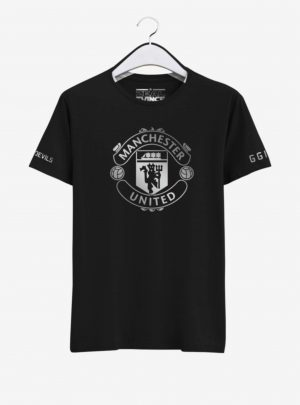 Manchester United Silver Crest Round Neck T Shirt Front