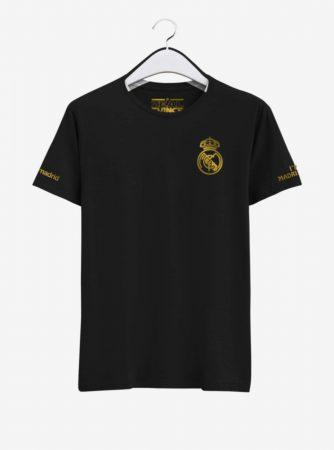 Real-Madrid-Golden-Crest-Black-Round-Neck-T-Shirt-Front-2