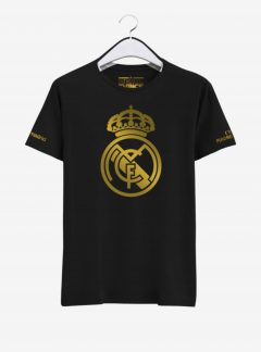 Real Madrid Golden Crest Round Neck T Shirt Front