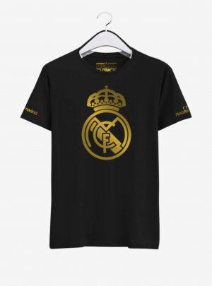 Real Madrid Golden Crest Round Neck T Shirt Front