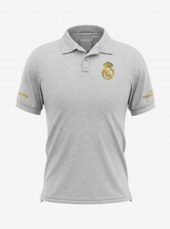 Real-Madrid-Golden-Crest-Grey-Melange-Polo-T-Shirt-Front