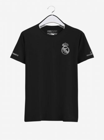 Real-Madrid-Silver-Crest-Black-Round-Neck-T-Shirt-Front-2-