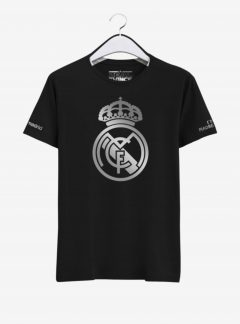 Real Madrid Silver Crest Round Neck T Shirt Front