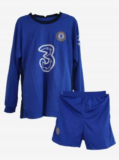 Chelsea-Home-Long-Sleeve-Football-Jersey-And-Shorts-20-21-Season