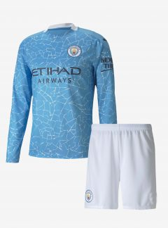 Manchester-City-Home-Long-Sleeve-Football-Jersey-And-Shorts-20-21-Season