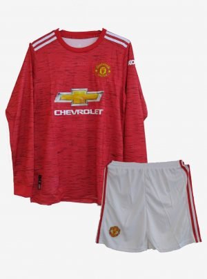 Manchester-United-Home-Long-Sleeve-Football-Jersey-And-Shorts-20-21-Season