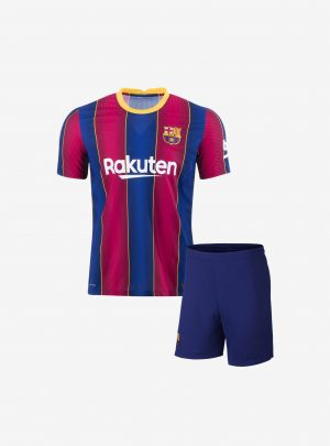 Kids-Barcelona-Home-Football-Jersey-And-Shorts-20-21-Season