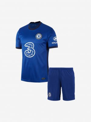 Kids-Chelsea-Home-Football-Jersey-And-Shorts-20-21-Season