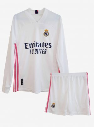 Real-Madrid-Home-Long-Sleeve-Football-Jersey-And-Shorts-20-21-Season